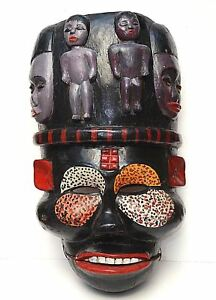 Ogoni Tribe Yam Mask Ibibio Nigeria Ekpo Idiok Articulated Jaw African 22 Large