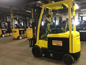 2014 Hyster 5000 Lb Electric Forklift Triple Mast And Side Shift