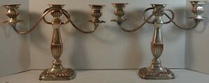 Antique Pair Of English Silverplate On Copper Shabby Chic Candelabras