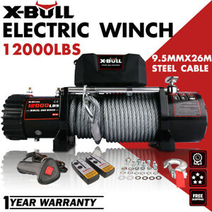 X bull Electric Winch 12000lbs 12v Steel Cable Truck Trailer Towing Off Road 4wd