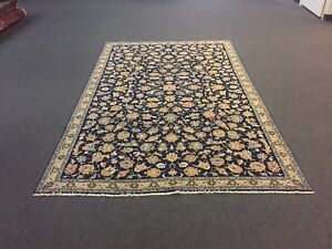 Onsale S Antique Hand Knotted Persian Kaashan Rug Floral Navy Carpet Red 5 9x9 1