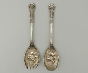 Fb Rogers Bountiful Harvest Silver Plate Spoon Fork Salad Utensil Serving Set