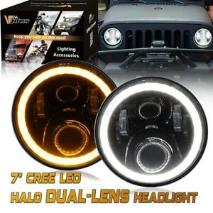 White Dot Approved 7 round Halo Ring Angel Eyes Drl Osram Led Headlight For Jeep