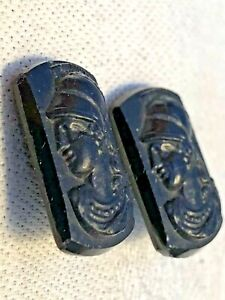 Unique Antique Vintage Button Lot Black Glass Pair Roman Head Buttons Victorian