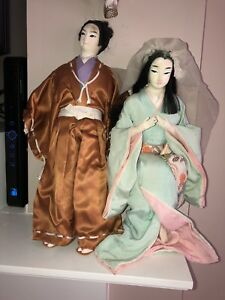 Antique Rare Pair Of Man Woman Japanese Chinese Silk Dolls Geisha Samurai
