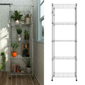 5 Tier Adjustable Wire Shelving Rack 72 x23 x14 Heavy Duty Steel Shelf W wheel