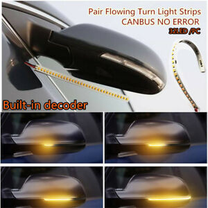 Pair 32 Led Amber 12v Car Rear Mirrors Flexible Flowing Turn Signal Light Strip