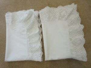 Pair Antique Vintage Linen Pillow Cases Shams