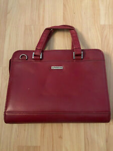Franklin Covey Red Day Planner Binder 7 Ring Zip Organizer With Handles Leather