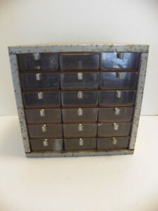 Vintage Metal 18 Drawer Nut bolt Small Parts Storage Cabinet Bin Organizer