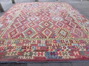 Kilim Old Traditional Hand Made Afghan Oriental Blue Wool Large Kilim 495x406cm