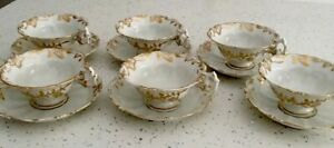 Antique Set Of 6 Russian Kornilov Kornilow Bros Tea Cups