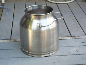 Vintage Milk Cream Pail Bucket Can Stainless Steel Dairy With Funnel
