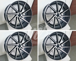 Set 19 Swirl Style Black Machine Style Wheels Rims Staggered 19 X 8 5 19 X 9 5