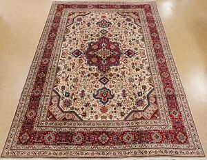 Persian Tabrizz Hand Knotted Wool Ivory Red Dazzling Oriental Rug Carpet 9 X 13
