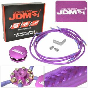 Purple Universal 8 Point Octagon Earth Ground Grounding Wire Cable System Us Kit