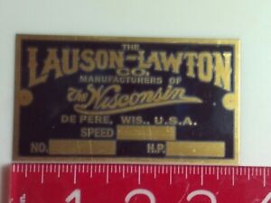 Lauson lawton Engine Reproduction Name Tag Nameplate