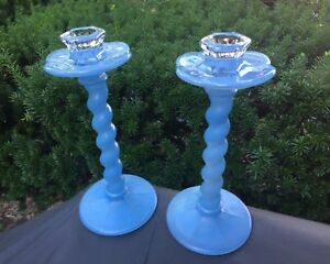 Pair Of Vintage Blue Art Glass Candlesticks 9 5