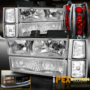 1994 1998 Gmc Sierra Yukon full 10pc Chrome Headlights Corner Black Tail Light