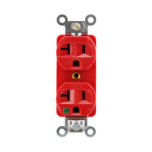 Hubbell 5362 ilhr Duplex Receptacle Hospital Grade Lighted Face 2p 3w Red