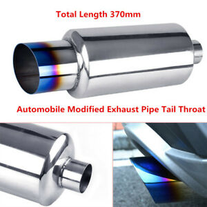 Universal Car Exhaust Pipe Tail Throat Muffler Tip Stainless Steel Blue Burned