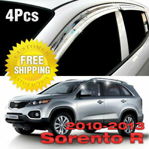 Chrome Window Sun Vent Visor Rain Guards 4p K705 For Kia 2010 2014 Sorento R