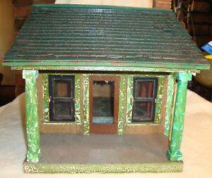 Antique Dollhouse Architectural Model Hand Made Putz Christmas Village Doll 20s