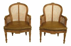 30631ec Pair French Louis Cane Back Vintage Arm Chairs