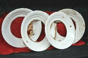 Set White Wall Tire Trim Beauty Ring Rim Vintage Automobile Car Hubcaps Hubcap