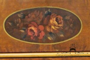 Antique Country French Floral Painted 48 Walnut Dresser W Oval Mirror