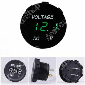 12v 24v Car Motorcycle Led Panel Digital Display Volt Voltage Gauge Meter Grn Ue