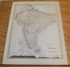 C1850 Antique Color Map India Published By Orr And Company