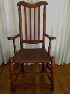Antique New England Banister Back Arm Chair 18th Cent