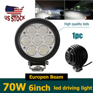 70w 6inch 6500k Round Led Work Driving Light Europen Fog Headlight Offroad Atv