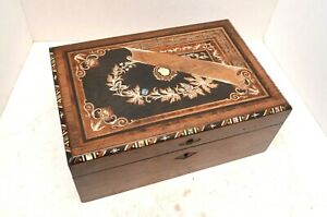 Exquisite Early Antique Mother Pearl Ornate Inlay Writing Slope Desk Box Vtg