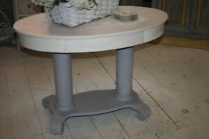 Antique Empire Accent Table Hand Painted White Gray Base Oval Top Single Drawer