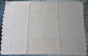 Antique Linen Pillow Case Open Ends Scalloped Edges V M B Monogram Great Accent