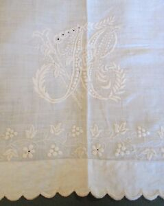Antique Embroidered Linen Lay Over Sham Ornate N V Monogram Grapes Flowers