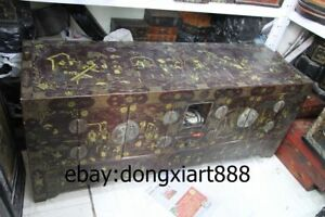 64 Old Chinese Wood Painted Palace Royal Figural Armoire Wooden Cupboard Chests