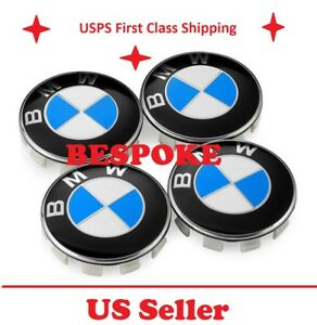 New 4pc Blue Bmw Wheel Caps Center Hub Cap 3 5 6 7 Series X6 X5 X3 Z3 Z4 68mm