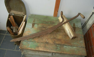 Antique Tool 36 Hay Saw Knife 2 Wood Handles Primitive Maine Barn Fiind