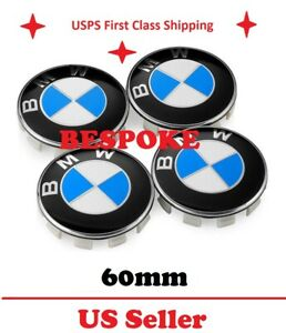 New 4pc Blue Bmw Wheel Caps Center Hub Cap 60mm