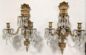 Monumental Pair Of Antique French Gilt Bronze Ormolu Wall Sconces W Lions Faces