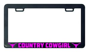 Country Cowgirl Cow Girl License Plate Frame Holder Tag
