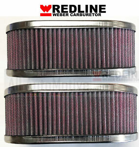 Weber 40dcoe 45dcoe Carburetor Oval Air Filter Assembly 1 Pair 2 Filters