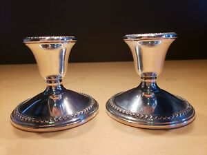 Rogers Vintage Sterling Silver Weighted Candle Holders Pair Set Of 2 3001