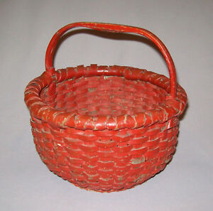 Antique Vtg 19th C 1800s Woven Oak Splint Basket Footed Small 9 Early Red Paint
