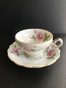 Royal Sealy China Footed Tea Cup Saucer Vintage Rose