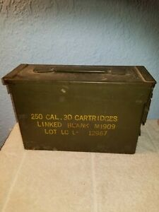 Metal 250 round EMPTY Ammo box for M1909 30 Cal. Linked machine gun blanks