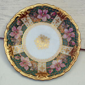 Beautiful French Antique B H Limoges Plate Trimmed In Gold
